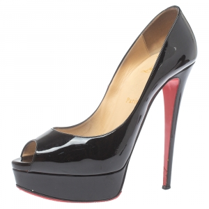 Christian Louboutin Black Patent Leather Lady Peep Toe Platform Pumps Size 39.5