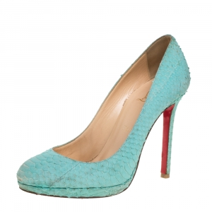 Christian Louboutin Green Python Embossed Leather New Simple Pumps Size 37.5