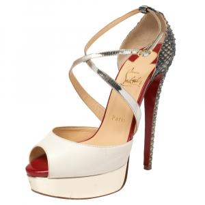 Christian Louboutin Multicolor Leather And Python Cross Minetta Platform Sandals Size 37.5