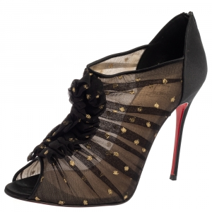 Christian Louboutin Black Lace And Satin Ruffled Peep Toe Ankle Boots Size 40.5