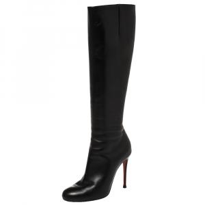 Christian Louboutin Black Leather Botalili Knee Length Boots Size 36 - used