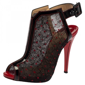 Christian Louboutin Lace And Patent Leather Catchiste Sandals Size 37 - used