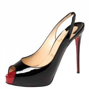 Christian Louboutin Black Patent Leather Private Number Sandals Size 38