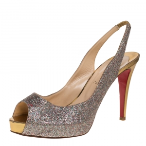 Christian Louboutin Silver Glitter Leather Private Number Sandals Size 40 - used