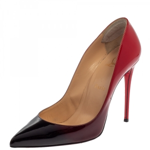 Christian Louboutin Black/Red Ombre Patent Leather Pigalle Follies Pointed Toe Pumps Size 38