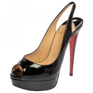 Christian Louboutin Black Patent Leather Lady Peep Toe Platform Slingback Sandals Size 38.5 - used