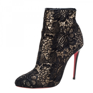Christian Louboutin Black Lace Miss Tennis Ankle Boots Size 37 - used