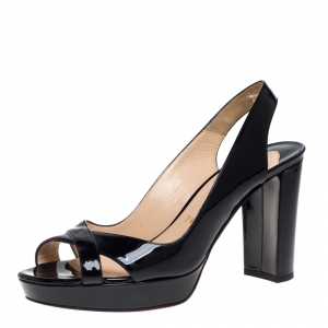 Christian Louboutin Black Patent Leather Marpoil Block Heel Slingback Sandals Size 37 - used