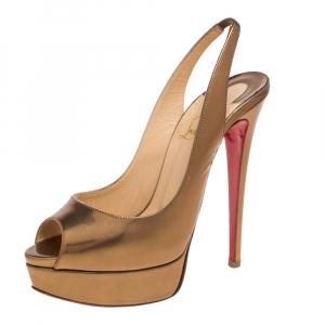 Christian Louboutin Metallic Bronze Leather Lady Peep Toe Platform Slingback Sandals Size 38 - used