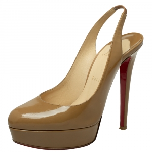 Christian Louboutin Beige Patent Leather Bianca Slingback Sandals Size 38 - used