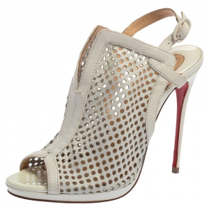 Christian Louboutin White Leather Escriminette Booties Size 36.5 - used