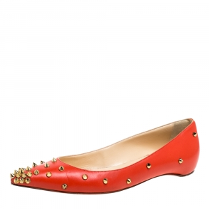 Christian Louboutin Orange Leather Pigalle Spikes Ballet Flats Size 37.5