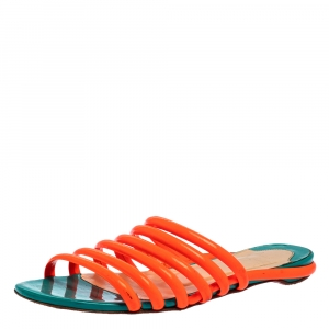 Christian Louboutin Neon Orange Patent Leather Slide Sandals Size 37 - used