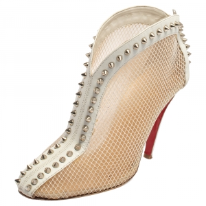 Christian Louboutin White Mesh And Leather Bourriche Spike Studded Booties Size 39 - used