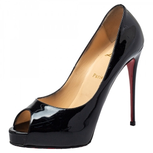Christian Louboutin Black Patent Leather New Very Prive Peep Toe Platform Pumps Size 40