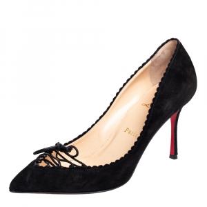 حذاء كعب عالي كريستيان لوبوتان سكالو سويدي أسود مقاس 38.5