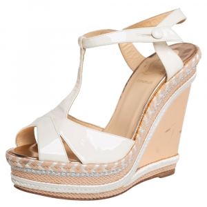 Christian Louboutin Cream Leather And Jute Wedges Slingback Sandals Size 40