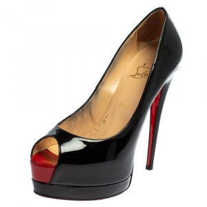 Christian Louboutin Black Patent Leather New Very Prive Peep Toe Pumps Size 38