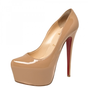 Christian Louboutin Nude Patent Leather Daffodile Platform Pumps Size 39.5