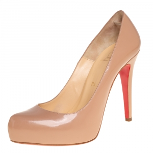 Christian Louboutin Beige Patent Leather Rolando Platform Pumps Size 36.5