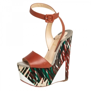 Christian Louboutin Green/Brown Leather and Canvas Tromploia Wedge Platform Sandals Size 35