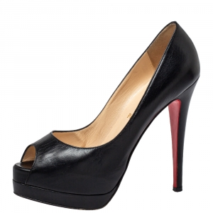 Christian Louboutin Black Leather Palais Royal Peep Toe Platform Pumps Size 38