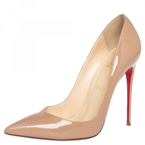 Christian Louboutin Beige Patent Leather So Kate Pumps Size 40.5