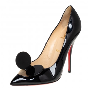 Christian Louboutin Black Patent Leather and Mesh Bow Pumps Size 40