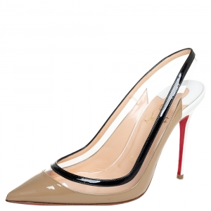 Christian Louboutin Beige/Black PVC And Patent Leather Paulina Pointed Toe Slingback Sandals Size 36