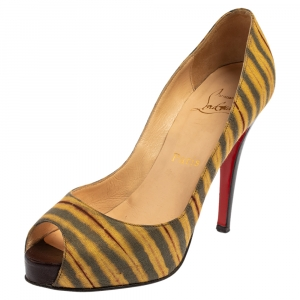 Christian Louboutin Multicolor Canvas Very Prive Peep Toe Pumps Size 36.5