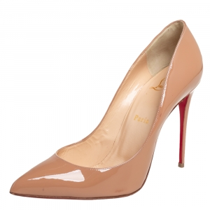 Christian Louboutin Beige Patent Leather Pigalle Follies Pumps Size 36.5