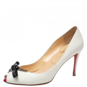 Christian Louboutin White Leather Tibunodo Bow Peep Toe Pumps Size 36