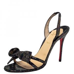 Christian Louboutin Black Grusanda Glitter Bow Sandals Size 37.5 - used