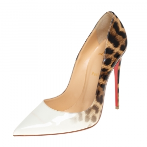 Christian Louboutin White And Leopard Print Patent Leather So Kate Pumps Size 40.5