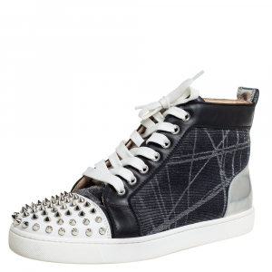 Christian Louboutin Metallic Mesh and Leather Lou Spikes Sneakers Size 40