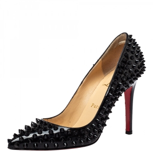 Christian Louboutin Black Patent Leather Pigalle Spikes Pumps Size 37