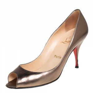 Christian Louboutin Metallic Olive Green Leather Very Prive Peep Toe Pumps Size 39