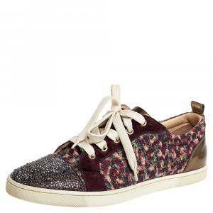 Christian Louboutin Multicolor Suede And Lurex Fabric Gandolastrass Sneakers Size 40