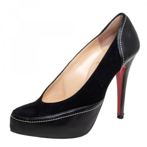 Christian Louboutin Black Suede And Leather Defil Pumps Size 37.5