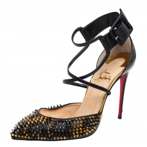 Christian Louboutin Black Leather and Patent Leather Suzanna Spikes Leo Sandals Size 38.5