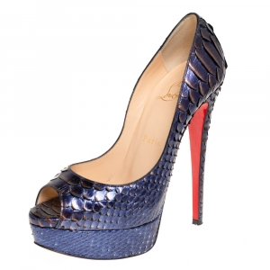 Christian Louboutin Two Tone Metallic Python Lady Peep Toe Platform Pumps Size 37