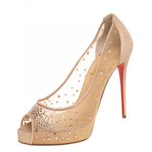 Christian Louboutin Beige Crystal Embellished Mesh and Suede Very Strass Peep Toe Pumps Size 38.5