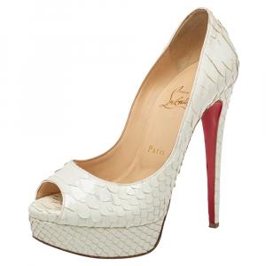 Christian Louboutin White Python Lady Peep Toe Platform Pumps Size 37