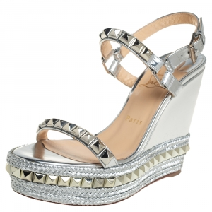 Christian Louboutin Silver Leather Pyraclou Pyadiam Studded Platform Ankle Strap Sandals Size 39