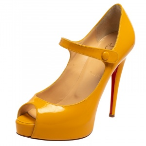 Christian Louboutin Orange Patent Leather Zeppa Mary Jane Peep Top Platform Pumps Size 39.5