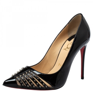 Christian Louboutin Black Patent And Leather Spiked Bareta Pumps Size 37