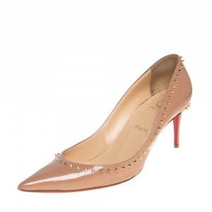 Christian Louboutin Beige Patent Leather Anjalina Spiked Pumps Size 40