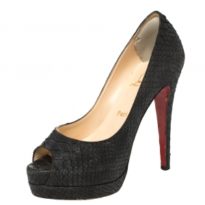 Christian Louboutin Black Python Very Prive Peep Toe Pumps Size 35