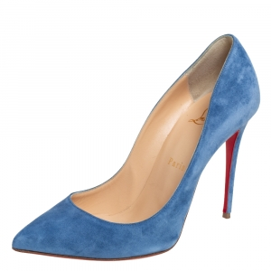 Christian Louboutin Blue Suede Pigalle Follies Pumps Size 37.5