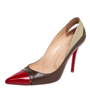 حذاء كعب عالي كريستيان لوبوتان قصة بيغال جلد بني ميتالك مقاس 39.8